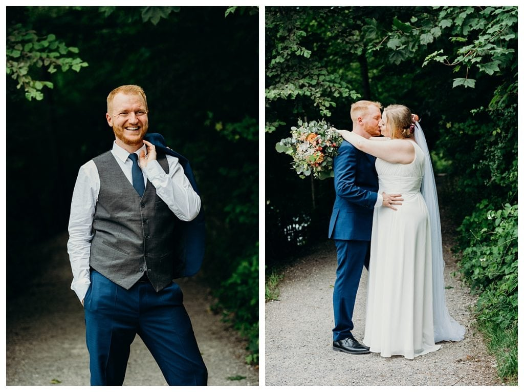 groom portrait holding jacker and bride and groom kissing in Bern Switzerland