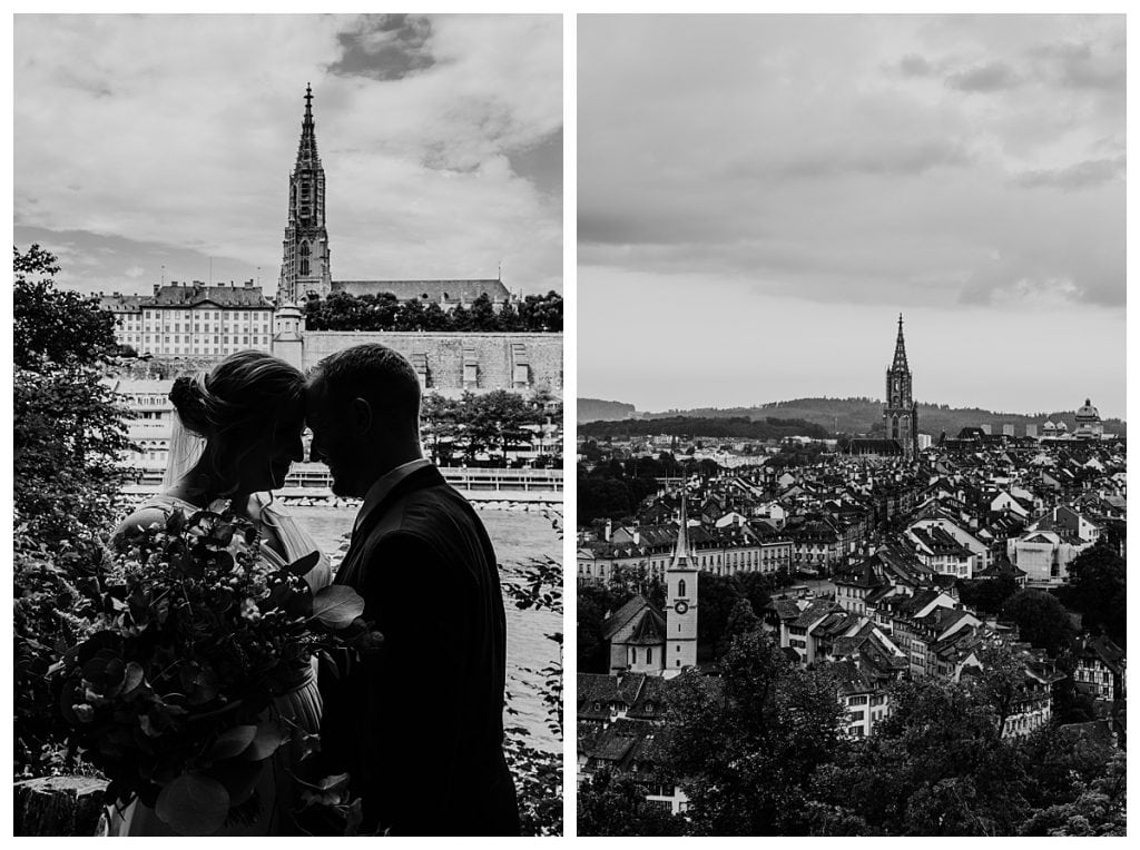 black and white of wedding couple touching foreheads in front of the bern cathedral in Switzerland