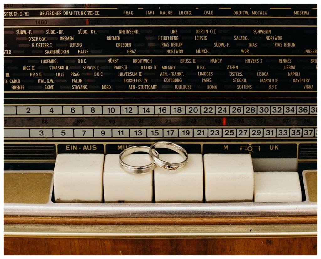 decorative wedding ring shot on old radio in Bern Switzerland home