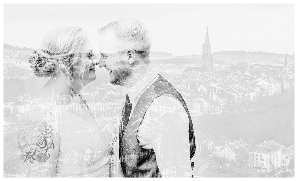 black and white double exposure of bride and groom and the bern city skyline in Switzerland