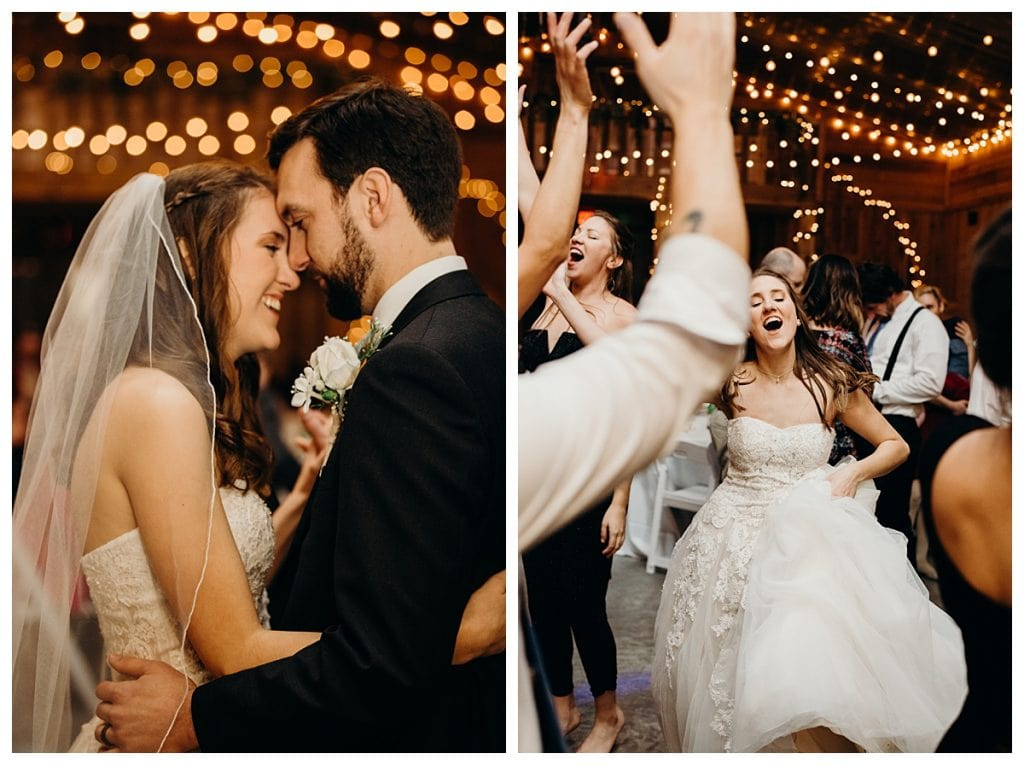 bride and groom dancing during their Firefly Lane wedding reception in Tennessee