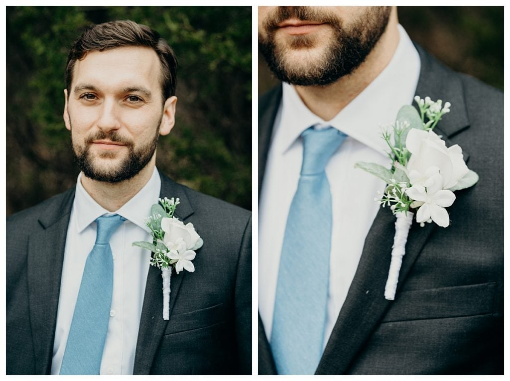 editorial groom portrait and close up on boutonniere at Firefly Lane wedding