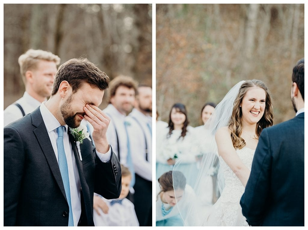 groom crying during Firefly Lane wedding in Dickson