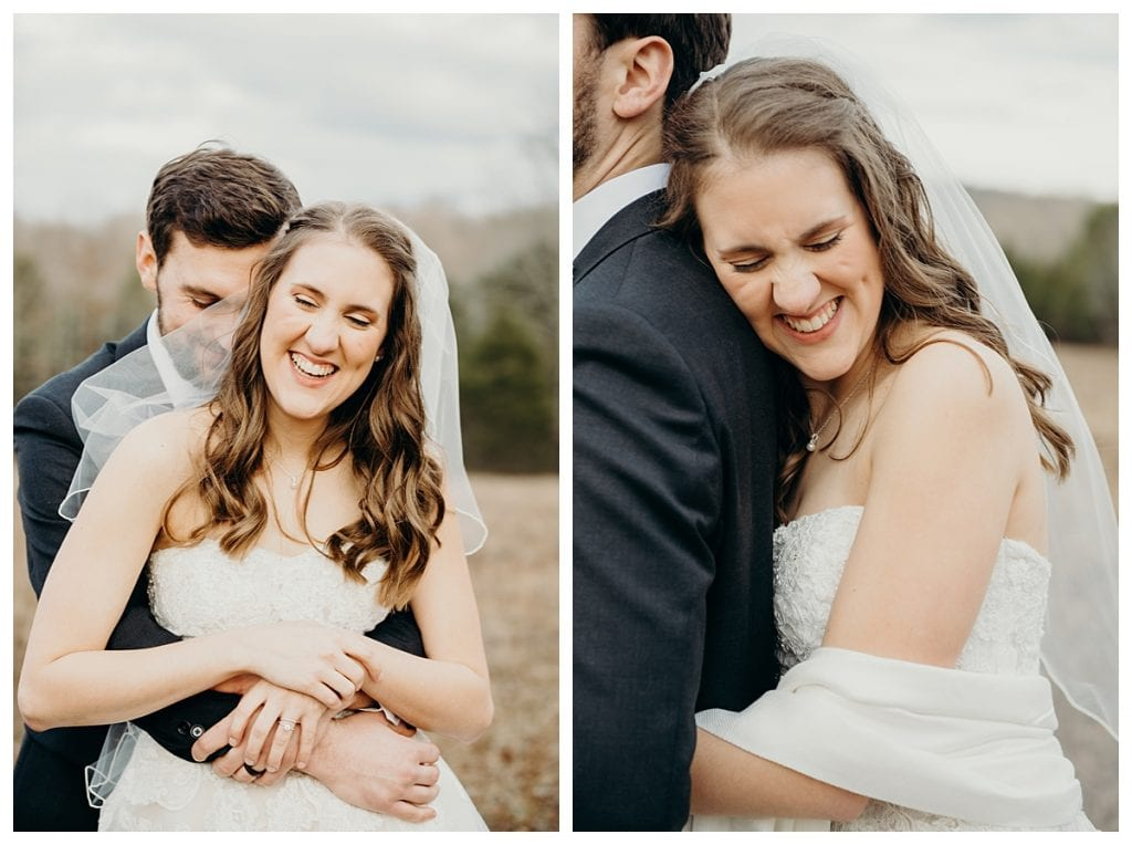 bride laughing with groom and hugging him after her Firefly Lane winter wedding