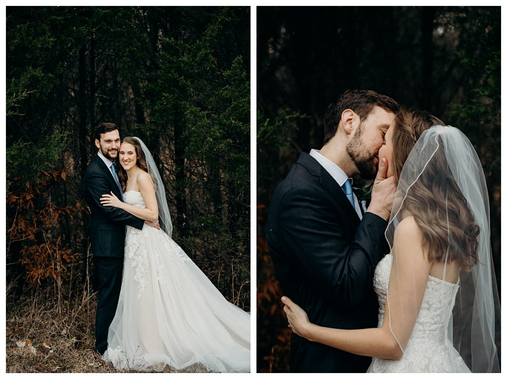bride and groom smiling and kissing by the trees at Firefly Lane