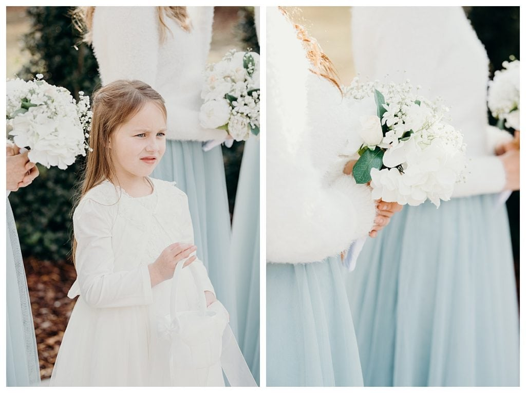 flower girl and bridesmaids bouquets at a winter Tennessee wedding at Firefly Lane