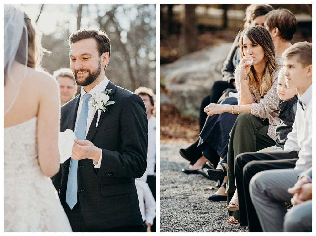 wedding guest crying during the exchange of vows at Firefly Lane