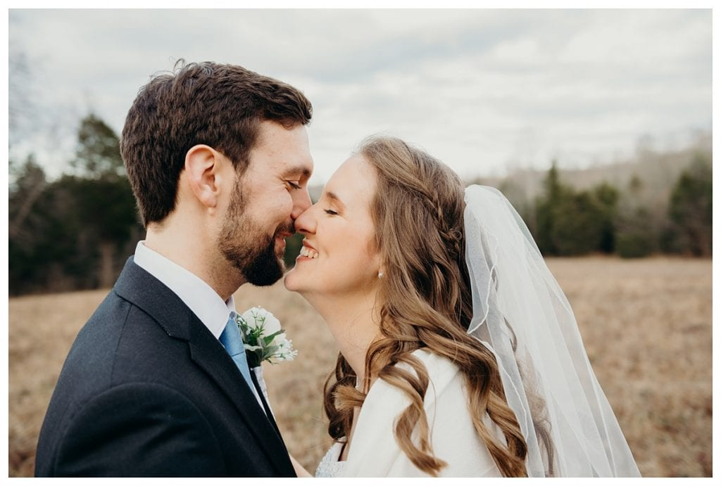close up on bride and groom leaning in during their Firefly Lane wedding in Dickson Tennessee